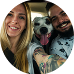 Hailey & Jason selfie picture with white dog.